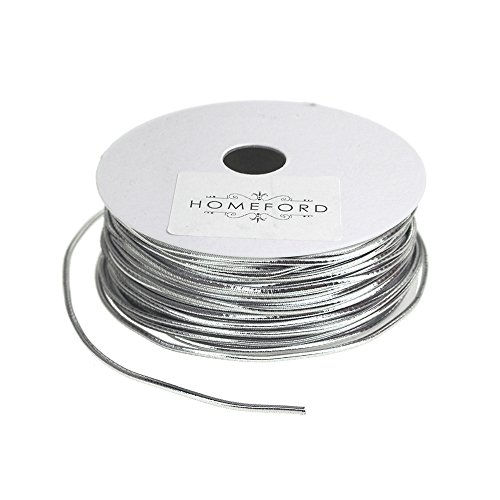 Homeford Stretch Cord Ribbon, 1/16-Inch, 25-Feet (Silver) ()