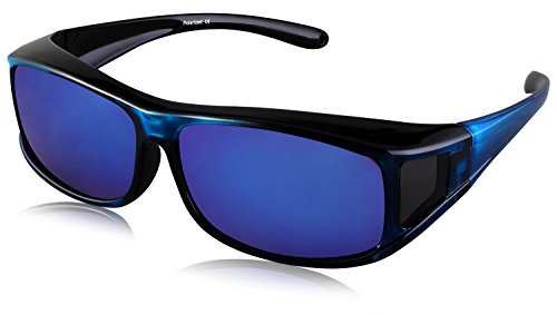 TINHAO Polarized Solar Shield Fitover Sunglasses - Wear Over Prescription Glasses.Mirrored lenses (Square-colorful, - Sunglasses Shield Sun Polarized