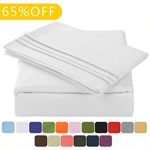 TasteLife 105 GSM Deep Pocket Bed Sheet Set Brushed