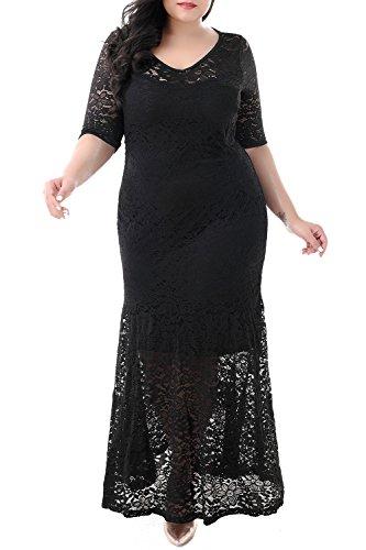 Nemidor Women's Half Sleeve Bodycon Fishtail Floral Lace Plus Size Maxi Dress (Black, 14W)