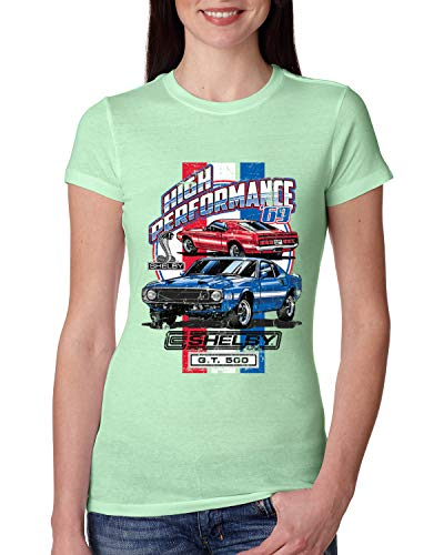 1969 Shelby GT500 '69 High Performance Ford Motors | Womens Cars and Trucks Junior Fit Tee, Mint, Large