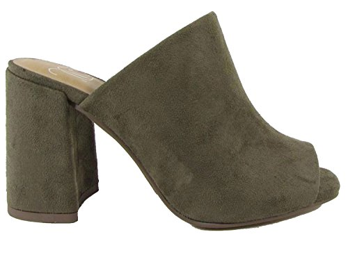 Peep Clog Sueded Delicious Olive Sandal Slip Toe Women's On Platform 5q74Ap