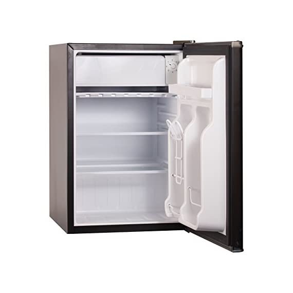 BLACK+DECKER BCRK25V Compact Refrigerator Energy Star Single Door Mini Fridge with Freezer, 2.5 Cubic Feet, VCM 5 2 Full Width Glass Shelves 2 Full Width Door Shelves accommodate 2 Liter and Tall Bottles Adjustable Thermostat Control and Leveling Legs offer ultimate versatility