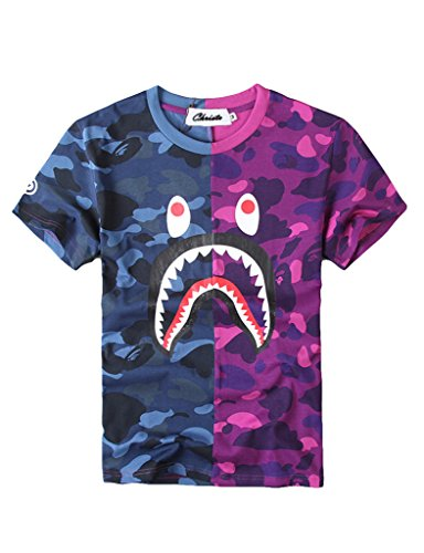 Christo Boy s Casual Fashion Crewneck T Shirt Camo Tees Unisex Pullover Tops Blu…