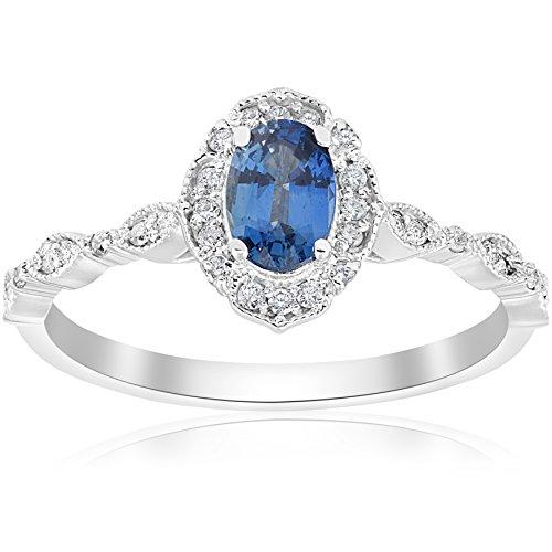 3/4ct Oval Blue Sapphire Diamond Halo Vintage Engagement Ring 14K White Gold - Size - Ring Engagement Sapphire Diamond