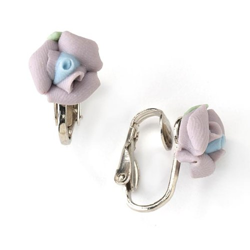 1928 Bridal Lavender Porcelain Rose Clip Earrings