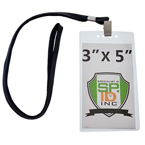 10 Pack - Large 3x5 Inch Large Clear Vertical Badge and Credential Holders with Lanyards for VIP Badges by Specialist ID (Black)