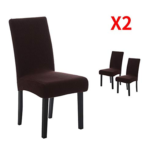 YIMEIS Comfort Stretch Dining Room Chair Covers, Corn Kernels Jacquard Dining Chair Protector, Removable Washable Short Dining Chair Covers for Dining Room, Kitchen, Party (Pack of 2, Y_Dark Coffee)