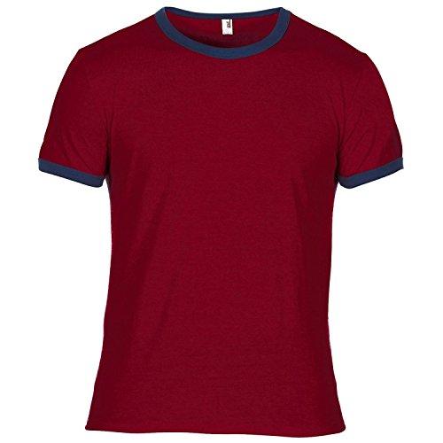 Anvil Mens Plain Lightweight Ringer T-Shirt (L) (Independence Red/Navy) ()