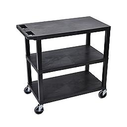 LUXOR EC222-B Cart, 3 Flat Shelves, 18\
