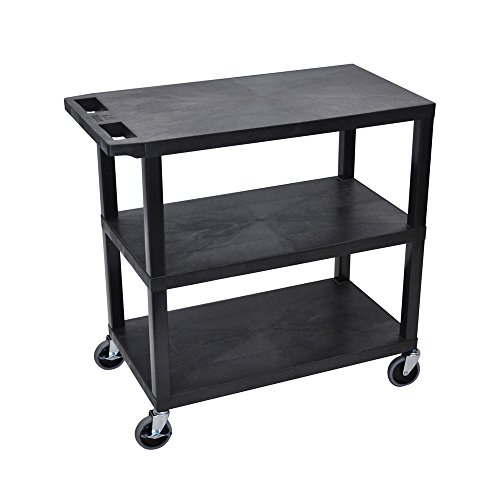 LUXOR EC222-B Cart, 3 Flat Shelves, 18
