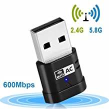 Mini USB WiFi Adapter, Aigital AC 600Mbps 5GHz/2.4GHz Dual Band Wireless Network Card Wi-Fi Dongle Signal Receiver Booster Extender Amplifier For Win7/8/10/XP and More
