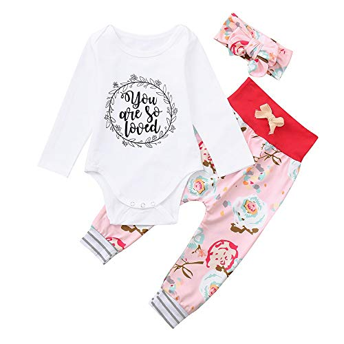 KpopBaby Clothes Set Baby Girls Letter Floral Print Romper +Pants+Headband Outfits