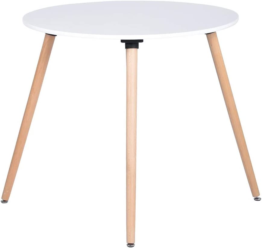 FurnitureR Round Table Dining Kitchen Table Wooden Coffee Table White Dining Room Kitchen Home Furniture