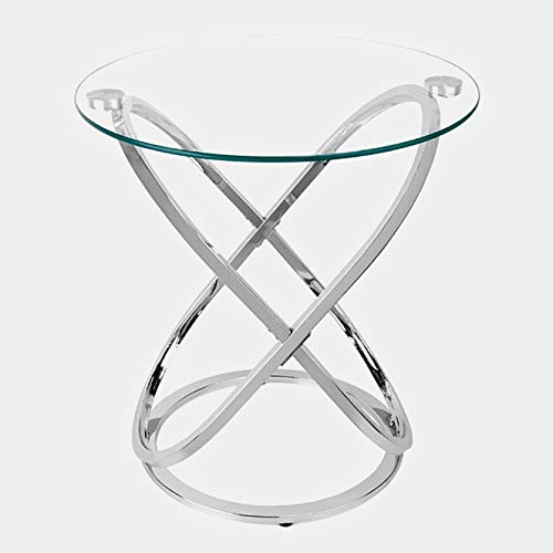 Metal End Table with Round Glass Top - End Table with 2 Oval Accents - Chrome