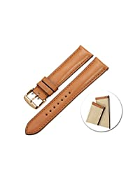 iStrap Genuine Calf Leather Watch Band Strap Quick Release RG Tan Buckle Replacement Clasp Color & Width (18mm,19mm, 20mm,21mm,22mm)