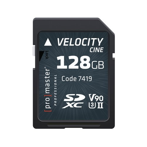 Promaster SDHC 128GB Velocity CINE V90 UHS-II U3 Memory Card (7419) by ProMaster