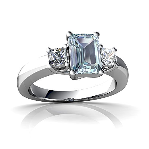 14kt White Gold Aquamarine and Diamond 7x5mm Emerald_Cut Three Stone Trellis Ring - Size - Cut Diamond Ring Trellis