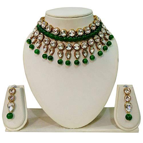 JN Handicraft Green Beads Chokar Necklac (JNH-50(Green)