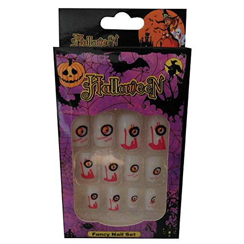 12 Halloween Themed Fake Nails with Glue (HN7)]()