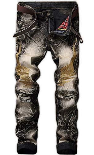 Fit In Strappato Denim Slim Blau Uomo Da Zipper Pantaloni Retrò Moda Estilo Strappati Jeans Especial qWctIzz