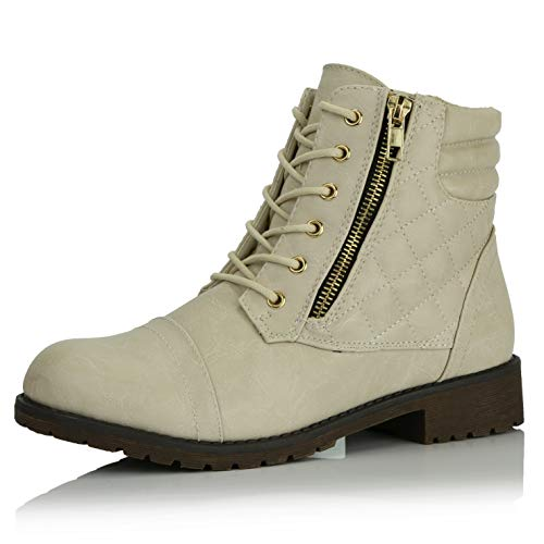 Buckle Tall Boot - DailyShoes Women's Military Lace Up Buckle Combat Boots Ankle High Exclusive Credit Card Pocket, Ivory White Pu, 9