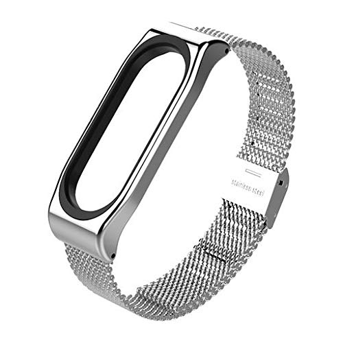 Lyperkin Strap Compatible with Xiaomi Mi Band 3 Bracelet, Luxury Stainless Steel Wristband Replacement Band Accessories for Xiaomi Mi Band 3 S-09