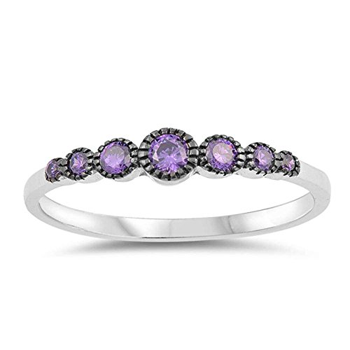 .925 Sterling Silver Seven Round Simulated Diamond & Gemstone AAA CZ Band Ring Size 4-10 Colors Available
