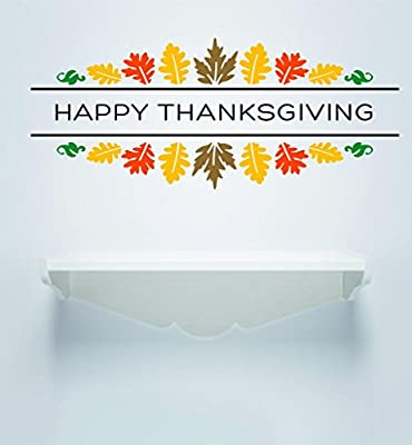Sale Priced Decal Sticker : Happy Thanksgiving Day Holiday Sign Fall Leaves Home Decor Living Room Picture Art Size : 16x32 - 22 Colors Available