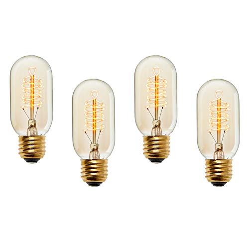 Edison Tubular T14 Vintage Bulbs, Fully Dimmable, Warm White, 40W (E26), Spiral Filament, Brooklyn Bulb Co. Kensington Design - Set of 4 (Brooklyn Light Set)
