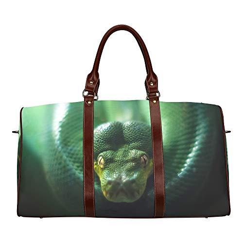 Large Leather Travel Duffel Bag For Men Women Green Tree Python Morelia Viridis Printing Waterproof Overnight Weekend Bag Luggage Tote Duffel Bags For Travel Gym Sports School Beach