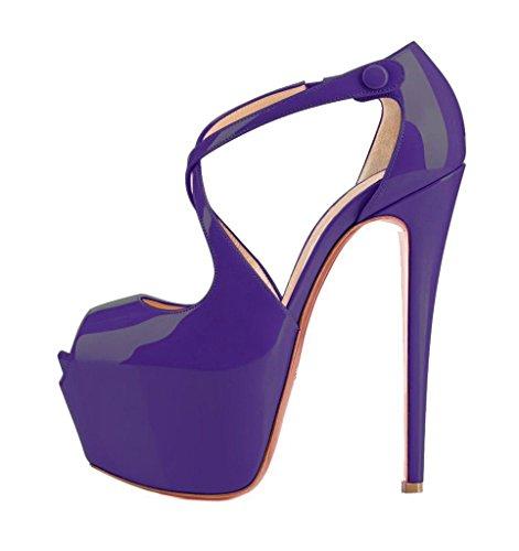 Arc-en-Ciel zapatos de las mujeres del alto talón de la plataforma de la correa del calzado púrpura