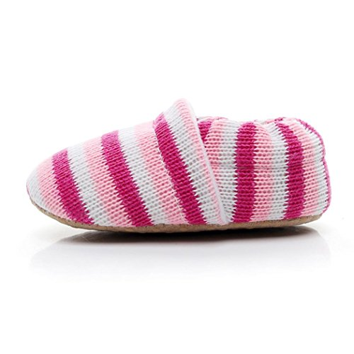 Huhu833 Kinder Mode Junge Mädchen Schuhe Regenbogen streifen Krippe Winter stiefel Prewalker warme Schuhe Rosen rot