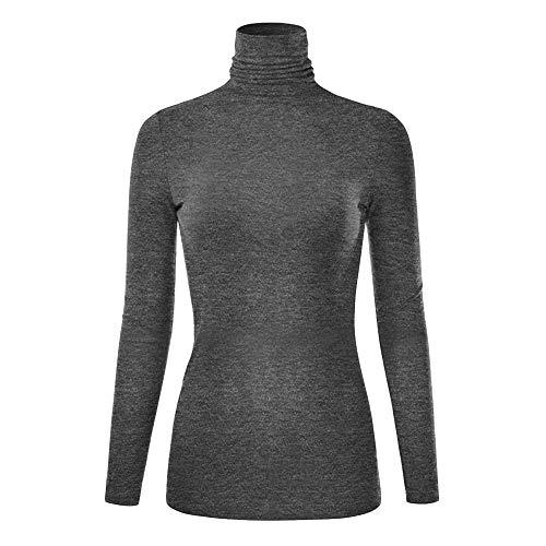 (NREALY Tops Womens Winter Warm Lightweight Long Sleeve Turtleneck Top Sleepwear Blouse Shirt(2XL,)