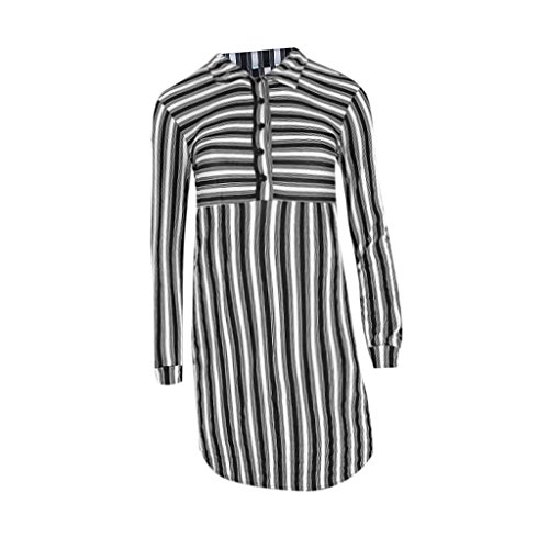 Mode Frauen Lang Ärmel Gestreifte Herbst Hemd Kleid Knielang Schlank mit Kragen - Schwarz und wei? M