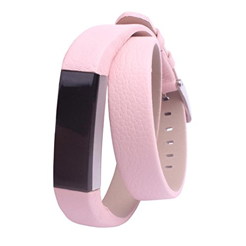 JANLY Bracelet en cuir de luxe double tour pour Fitbit Alta