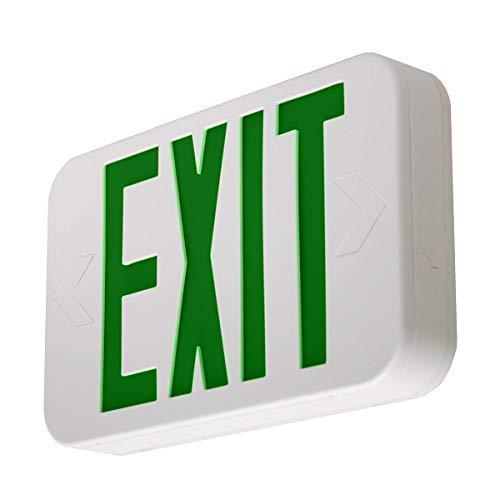 LFI Lights - UL Certified - Hardwired Green LED Emergency Exit Sign - Modern Design - Battery Backup - LEDGBBJR
