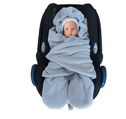 SWADDYL Bebe, nino envolver manta, para Silla de coche, cochecito, grupo 0, Maxi-cosi, Peg-Perego, saco, recien nacido, Polar Afelpado y algodon, fabricado en Europa (Azul)