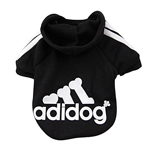Rdc Pet Fleece Dog Hoodies, Apparel, Adidog Basic Hoodie Sweater, Cotton Jacket Sweat shirt Coat for Small Dog & Medium Dog & Cat (L, Black)