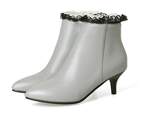 Aisun Gris Mode Dentelle Femme Pointues Bottines Cheville rqrS4gz