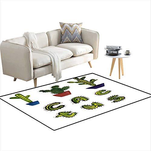 Kids Carpet Playmat Rug Cactus 4'x18'