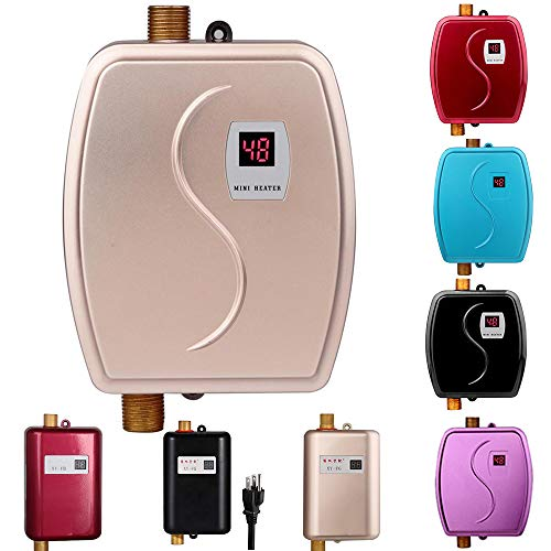 Electric Tankless Hot Water Heater, 110V 3000W Mini Tankless Instant Hot Water System with Leakage Protection and LCD Digital Display Bathroom Kitchen Washing, Version 01- Gold (Tankless Water Heater Electric)