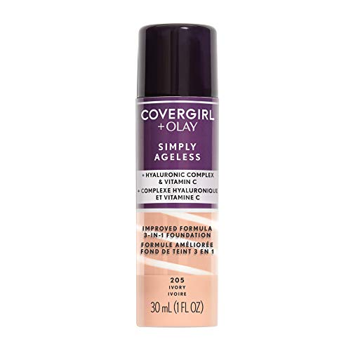 COVERGIRL Simply Ageless 3-in-1 Liquid Foundation, Ivory 205, 1 Count (Packaging May Vary)