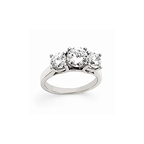 14k White Gold Peg Set Three Stone Ring Mounting, Peg Set Head Can Fit Any Size Stone by viStar