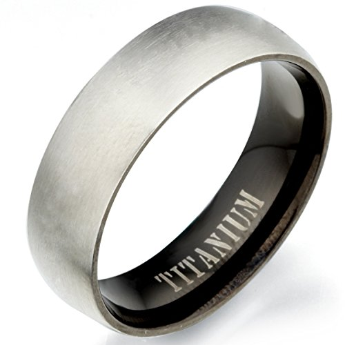 (GEMINI Groom Bride 2 Tone Black Matt & Polish Titanium Wedding Ring 7mm US Size 11)