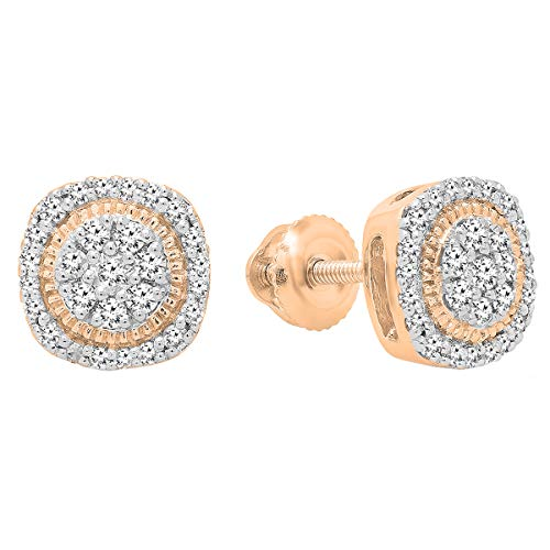 (Dazzlingrock Collection 0.30 Carat (ctw) 10K Round White Diamond Ladies Cluster Stud Earrings 1/3 CT, Rose Gold)