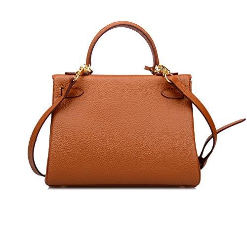 Ainifeel Women's Padlock Shoulder Handbags Hobo Bag (28cm, Brown) by Ainifeel (Image #4)