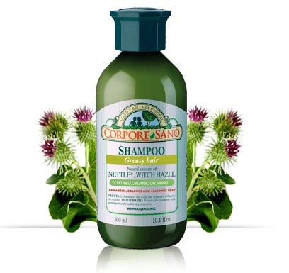 CORPORE SANO Nettle,Witch Hazel and Lime Shampoo-No Parabens-Certified Organic- Hypoallergenic-Greasy Hair-300 ml/10.1 fl. oz.