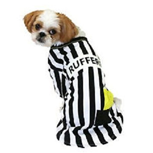 Rufferee Dog Costume Striped Referee Pet Tee Halloween T-Shirt Large