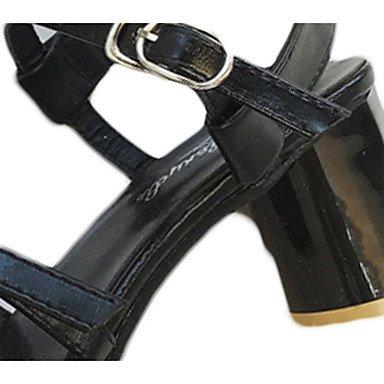 LvYuan Mujer Sandalias Confort PU Verano Casual Paseo Confort Hebilla Tacón Robusto Blanco Negro 5 - 7 cms Black